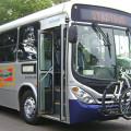 Exemplo de ônibus com suporte externo para bicicleta em Santa Cruz do Sul (RS). Foto: Stadtbus/Divulgação