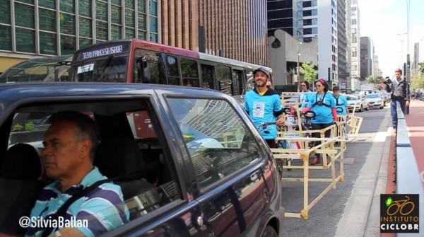 """""""Bicicarros"""" circularam na Avenida Paulista no Dia Mundial Sem Carro. Foto: Silvia Ballan/CicloBR"""