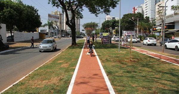 Novo trecho de ciclovia recém-inaugurado em Goiânia. Foto:  Ângela Macário