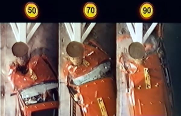 Resultado de uma colisão a 50, 70 e 90 km/h. Imagem: Reprodução