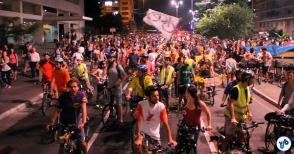 Em 2015, sete mil foram às ruas defender as ciclovias de São Paulo, além dos ciclistas de outras 45 cidades do Brasil e do mundo, que se solidarizaram aos paulistanos. Foto: Silvia Ballan