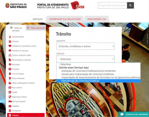 Portal de atendimento ao cidadão permite cadastrar solicitações referentes à estrutura cicloviária de São Paulo. Imagem: Reprodução