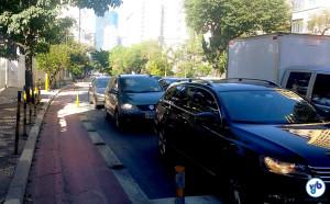 Subida da Consolação: impraticável sem a demarcarção de área para bicicletas. Foto: Willian Cruz