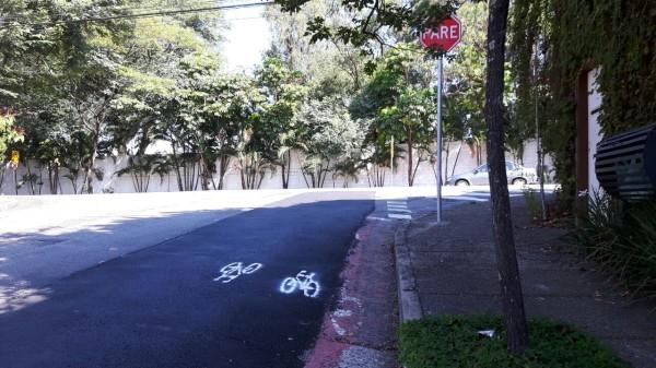 Bicicletinhas pintadas sobre o asfalto recente deixam a mensagem: a remoção dessa ciclovia não cairá no esquecimento.