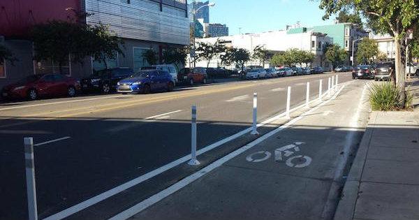 A ciclofaixa depois de oficializada. Foto: San Francisco Transformation Agency
